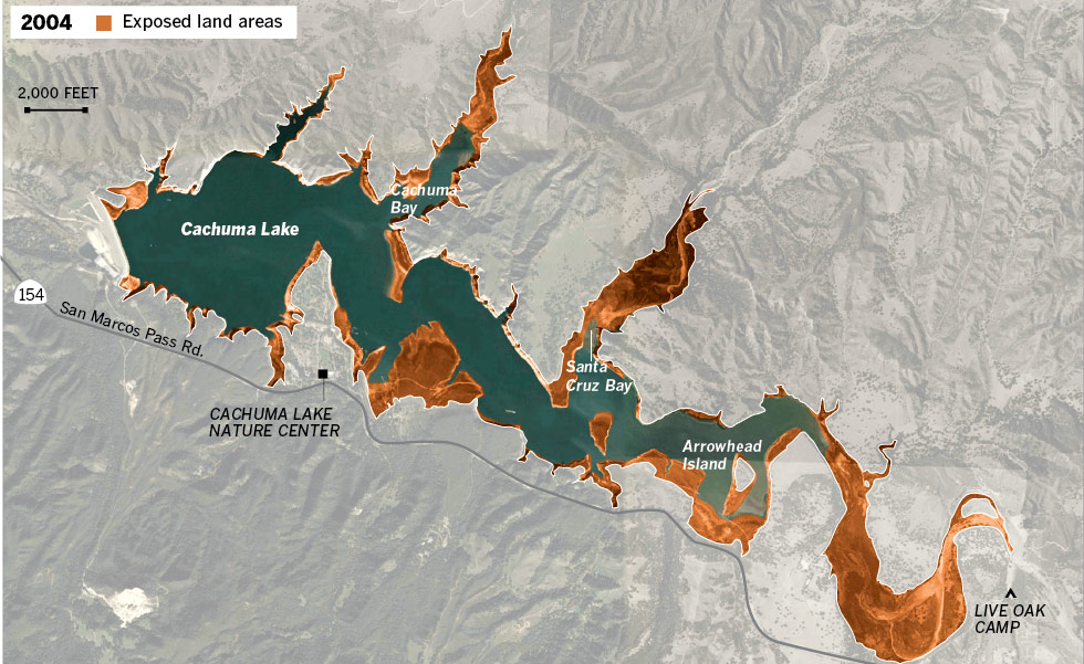 Interactive graphic cachuma lake water is disappearing for Lake cachuma fishing report
