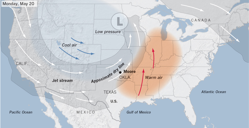 Interactive Graphic Why So Many Tornadoes Near Oklahoma City Data Desk Los Angeles Times