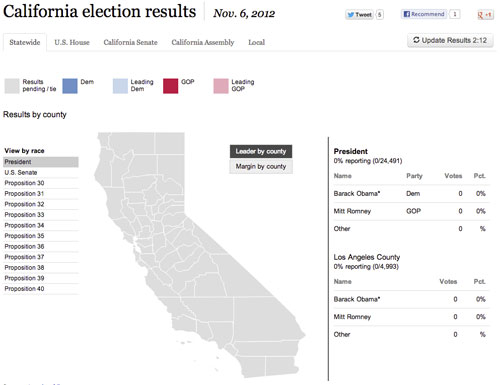 California Election Results 2012 Election Data Desk Los Angeles Times