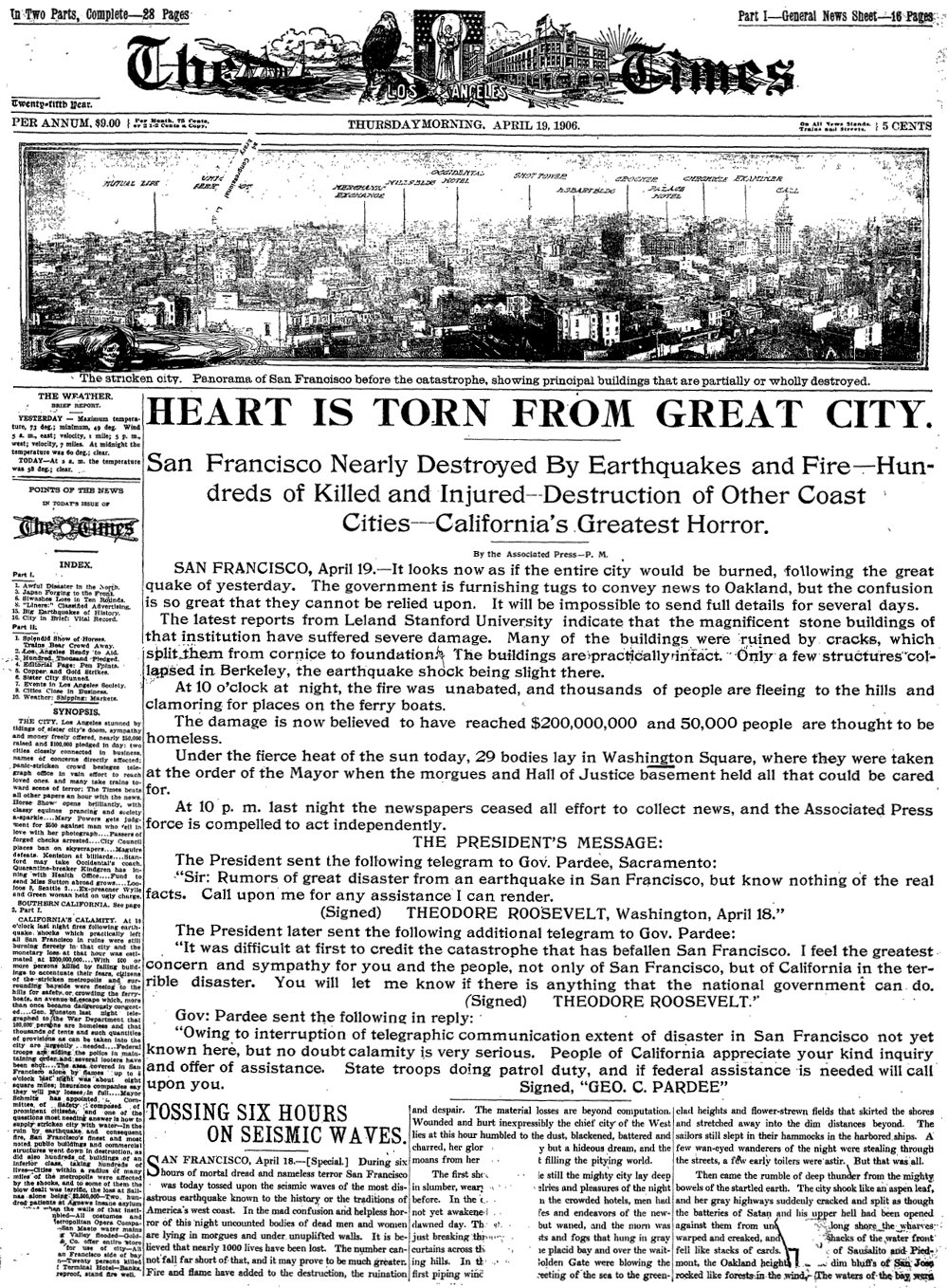 The L.A. Times front page from April 19, 1906 detailing San Francisco's great earthquake and fire