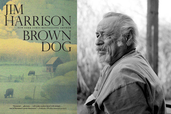 A photo of author Jim Harrison, split with the cover of